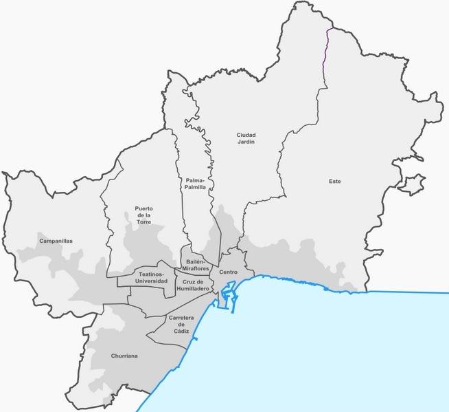 Малага, районы города