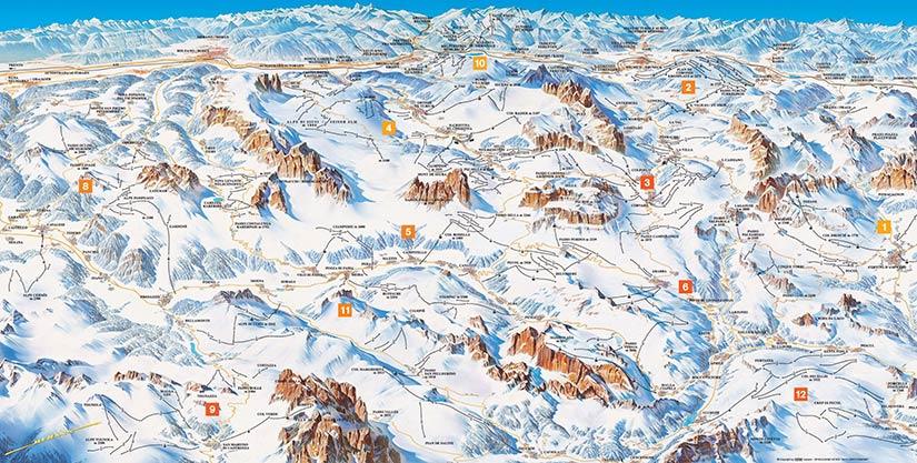 Горнолыжные трассы, Доломитовые Альпы, Италия