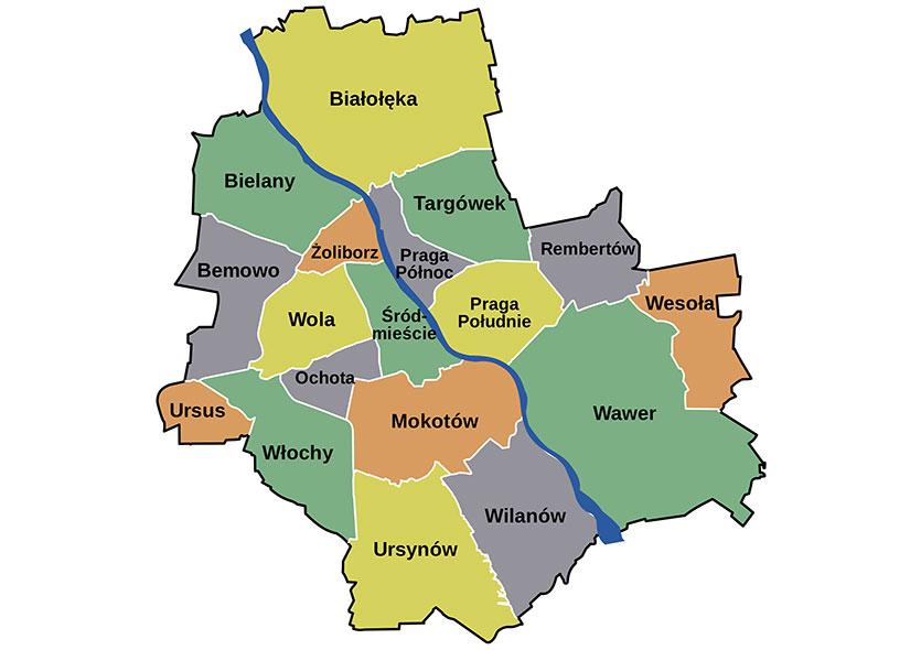 Районы Варшавы, Польша