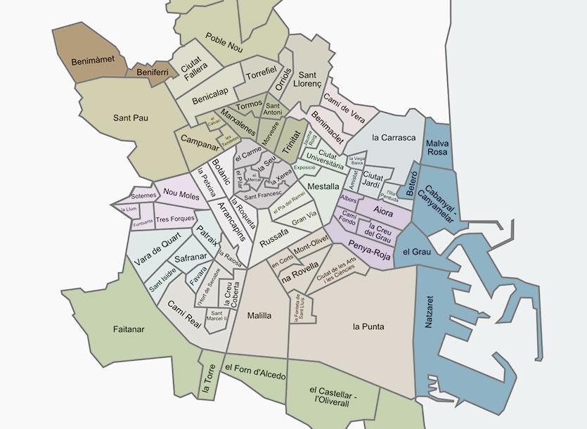 Районы и кварталы Валенсии