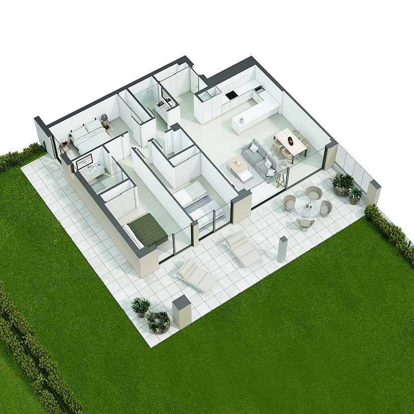План апартаментов на нижнем уровне