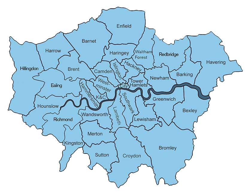 Районы Лондона, Великобритания